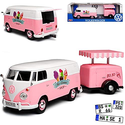 Motormax Volkwagen T1 Pink Eiswagen mit Anhänger Bus 1950-1967 1/24 Modell Auto