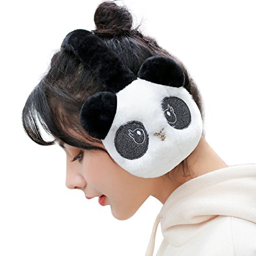 Surblue Winter Panada Fur Earwarmer Warm Cute Earmuffs Outdoor Ear Covers Headband,Blackwhite