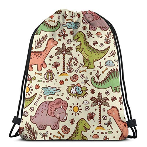 XCNGG Cute Dinosaur Funny Pattern Unisex Drawstring Backpack Bag, Polyester Cinch Sack, Waterproof Sport Gym Bag Casual Daypack for Women Men