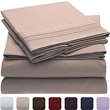 Mellanni Bed Sheet Set - HIGHEST QUALITY Brushed Microfiber 1800 Bedding - Wrinkle, Fade, Stain Resistant - Hypoallergenic - 4 Piece (Cal King, Tan)