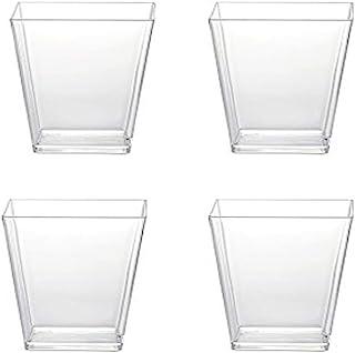 Sohapy 40 Pack 5 oz Tall Square Food Grade Clear Plastic Dessert Tumbler Cups for TiramisuCakesIce creamParfait Dip Sundae...