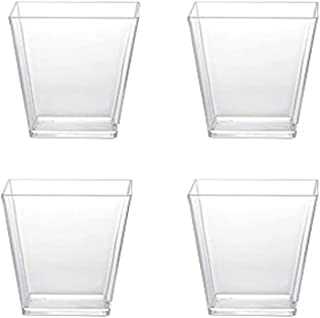 Sohapy 40 Pack 5 oz Tall Square Food Grade Clear Plastic Dessert Tumbler Cups for Tiramisu,Cakes,Ice cream,Parfait, Dip, Sundaes,and Cookies