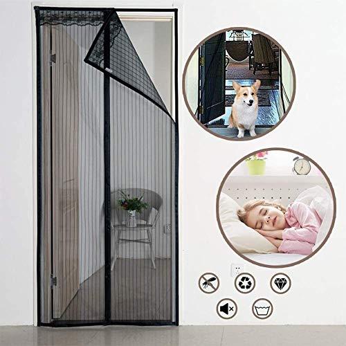 LAMZ Magnetic Screen Door Black,Durable Fiberglass Mesh Curtain Heavy Duty Magnets for Garage Balcony French Sliding Doors Hands Free Insect Screen Door 0728 (Color : -, Size : 100x225cm(39x89inch))