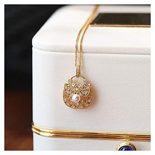 Oro De 18 Kilates Colgante De Perlas, Moda Bolsos De Marca Collar para Mujeres, Joyería Fina Regalos para La Esposa, Mamá Y Novia, Los 4.5-5MM