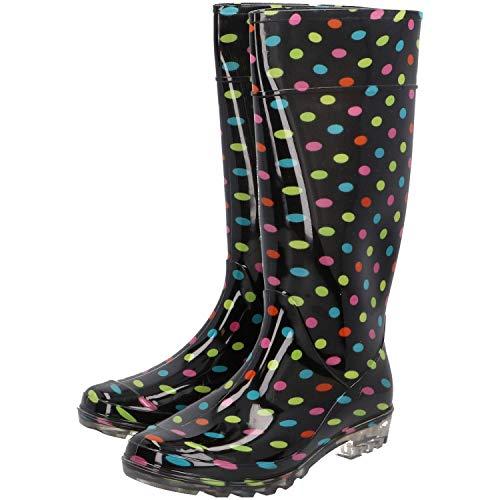 PROTECT2U Botas de agua de PVC para mujer, tallas 36 a 41, diseño de lunares, multicolor