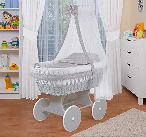 WALDIN Baby Stubenwagen-Set mit Ausstattung,XXL,Bollerwagen,komplett,18 Modelle wählbar (Gestell/Räder grau lackiert, weiß/Punkt weiß)