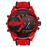 Diesel Mr Daddy 2.0 - Reloj de Tres manecillas para Hombre con Correa de Silicona roja - DZ7431