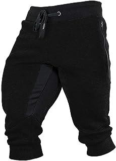 Wohthops Men's Cotton Joggers 3/4 Shorts Casual Workout Capri Pants Breathable with Elastic Waist Zipper Pockets