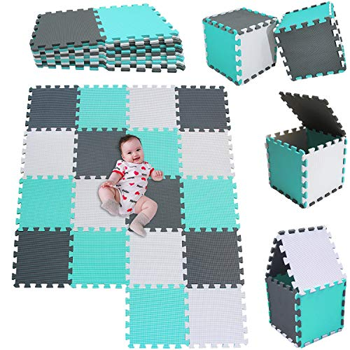 MSHEN 18 Stück Puzzlematte | Kälteschutz,abwaschbar Kinderspielteppich Matte | puzzlematte Baby Trainingsmatte.Größe 1,62 Quadrat.Weiß-Türkis-Grau-010812g18