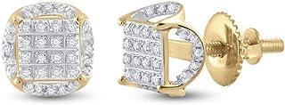 FB جواهر الذهب الأصفر عيار 10 قيراط رجل جولة الماس العنقودية أقراط 1/5 Cttw (الحجر الأساسي: I3 وضوح؛ G-H لون)