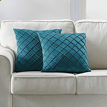 Longhui bedding Velvet Teal Throw Pillow Covers 18 x 18 Inches Decorative Throw Pillows for Couch Sofa Bed Dark Teal Square Cushion Covers with Zipper Closure – Set of 2