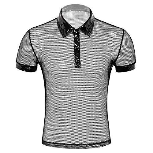 Freebily Camiseta Manga Corta Hombre Camiseta Interior Sexy Mallas Lencería Erótica Cuello de Charol Tops Verano para Hombres