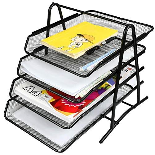 Organizador de bandeja de letras de 4 cajones YOTINO, bandeja de documentos de metal Organización de escritorio Organizador de oficina Bandeja de escritorio para documentos A4 (negro)