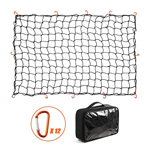 CZC AUTO Bungee Cargo Net 4x6Ft Truck Bed Net Stretches to 8x12Ft for Pickup Trailer RV SUV Boat |4Inch x 4Inch Mesh Net Holds Small and Large|12 Tangle Free Carabiners|Super Duty