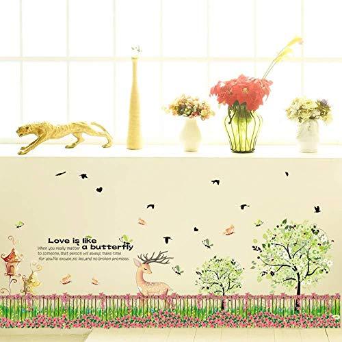 Muursticker,Landelijke stijl hek bloementuin voor kinderen kamers kwekerij woonkamer Home decoraties Art Decals dier