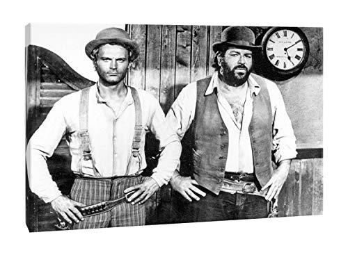 Quadro Moderno Bud Spencer Terence Hill - Bianco e Nero - Film - Cinema Spaghetti Western - Stampa su Tela Canvas - Soggiorno - Salotto - Cucina - Camera da Letto - Made in Italy (50 x 36 cm)