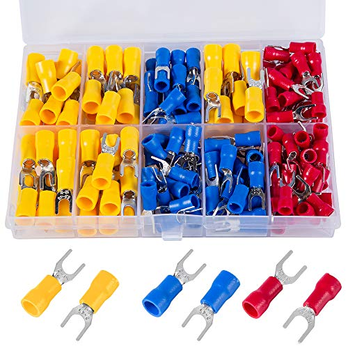 Breezliy 180 Pcs 22-16 16-14 12-10 AWG Insulated Fork Spade U-Type Wire Connector Electrical Crimp Terminal Assortment Kit
