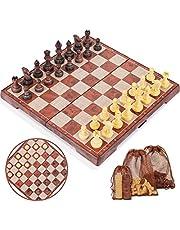 Peradix Schaken Game Magnetisch inklapbaar Deluxe Schaak met Opvouwbaar Schaakbord,Kinderspel Speelklassieker (35 * 30cm bruin)