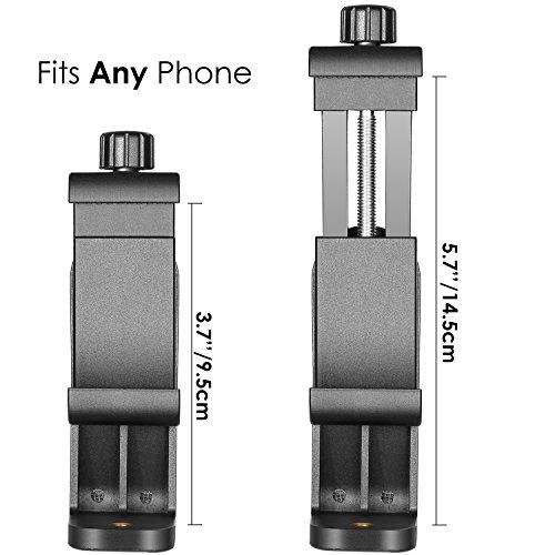 Neewer Smartphone Halterung Adapter Klemme Stativadapter ohne Dreibeinstativ mit Bluetooth Fernbedienung Auslöser für iPhone Samsung und Handy mit Bildschirm Innerhalb 4.3-5.5 Zoll