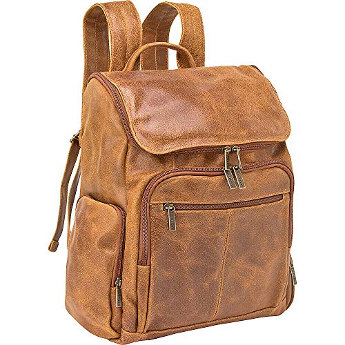 """Le Donne Leather Distressed Full Grain Leather Laptop Backpack, 14"""" x 16"""" x 7"""", Tan"""