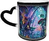 IUBBKI psicodélico seta que cambia de color taza en el cielo taza de cerámica taza de café negro regalo de cumpleaños de Navidad