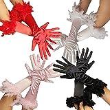 Federhandschuhe für Damen - in den Farben rosa rot schwarz und Weiss - Damen Handschuhe Feder pink Handschuhe 20er Jahre Edel Federn Glamour Mafia Gangster Farbe Schwarz -