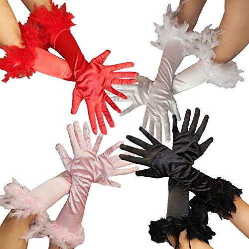 Federhandschuhe für Damen - in den Farben rosa rot schwarz und Weiss - Damen Handschuhe Feder pink Handschuhe 20er Jahre Edel Federn Glamour Mafia Gangster Farbe Schwarz