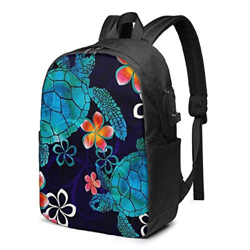 Sea Turtle with Flowers USB School Backpack Large Capacity Canvas Satchel Casual Travel Daypack for Adult Teen Women Men 17in
