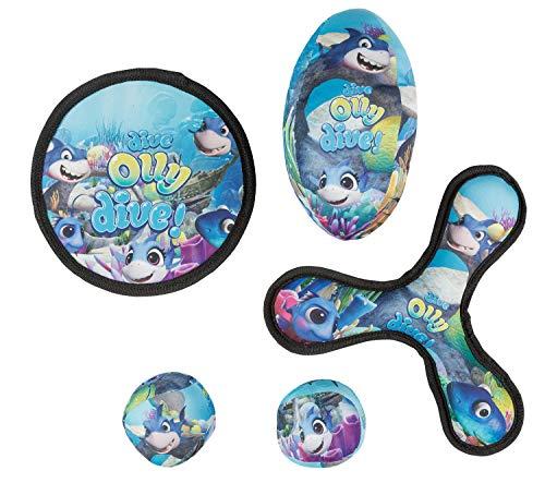 III 10053327 Wurfspielzeug mit 2 Softbällen, Wurfscheibe, Bumerang und Football, für Kinder ab 3 Jahren, Timmy, Tauch Motiv, 5 teilig, blau, bunt