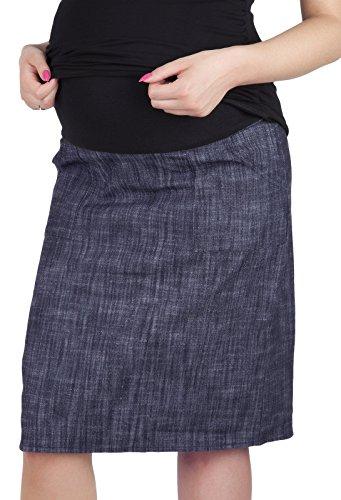 Mija - Umstandsrock mit Bauchband/sportlich Denim Jeans 3047 (38, Denim Blau)