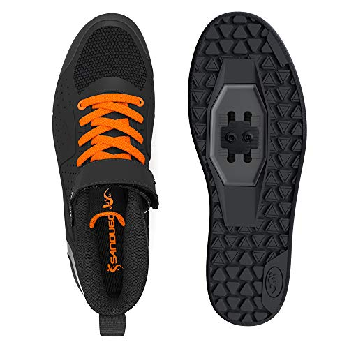 SANDUGO Zapatillas de Ciclismo de Hombre,Calzado de Bicicleta de montaña,Color: Negro,MTB ,Compatible con SPD, Pedal planol EU-42