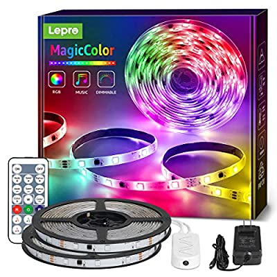 Lepro MagicColor LED Strip Lights, Lepro 32.8ft Music Sync Waterproof RGBIC Light Strip with Remote, 5050 RGB LED Lights for Bedroom, Home Decoration, TV, Gaming Room, Party, Balcony and Camping