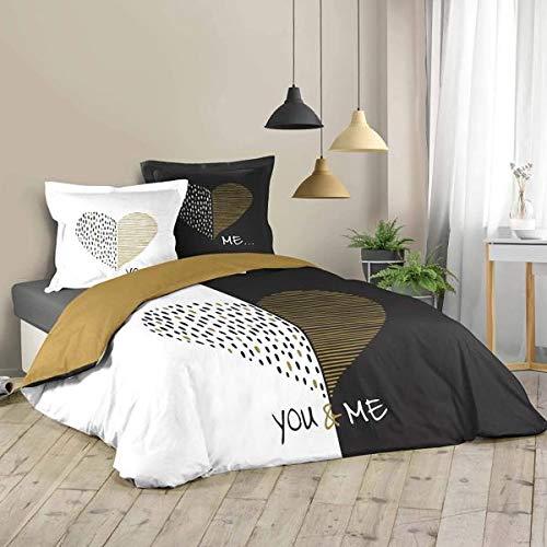 Funda de edredón MIU Love, color negro y dorado, 220 x 240 cm, para 2 personas, 100% algodón, edición limitada