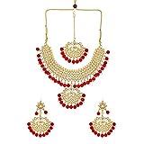 Efulgenz Collar de gargantilla india Maang Tikka pendientes Bollywood Crystal Kundan collar pendientes cabeza cadena conjunto