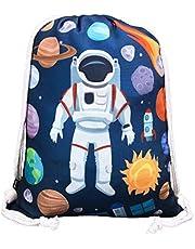 HECKBO® Kindergymtas met astronaut ruimtemotieven unisex   kleuterschool, wieg, reizen, sport   geschikt als gymtas, rugzak, speeltas, sporttas, schoentas - voor meisjes en jongens