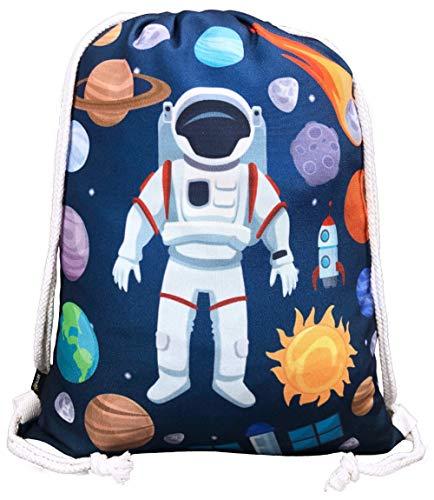 HECKBO® kindergymtas met astronaut ruimte-motieven, uniseks, kleuterschool, reizen, sport, geschikt als gymzak, rugzak, speeltas, sporttas, schoentas - voor meisjes en jongens