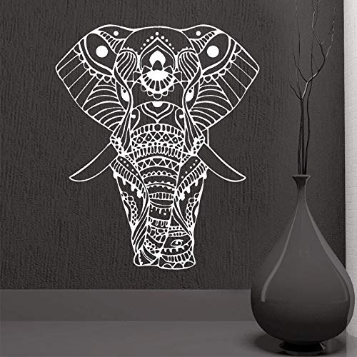 N / A Mandala Yoga Adornos Indio Buda Dios Elefante Pegatinas de Pared decoración del hogar Arte Sala de Estar Vinilo Mural57x68cm