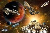 Great Art Fototapete – Galaxy Adventure – Wandbild Dekoration Raumfahrt-Mission Space-Shuttle Science-Fiction Raumschiff Weltraum All Stern Foto-Tapete Wandtapete Fotoposter (210x140 cm)