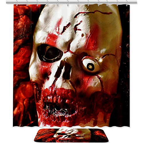 imobaby Creepy Clown Bloody Bathroom Sets with Shower Curtain and Rugs and Accessories 70.8×70.8 Inches, Waterproof…