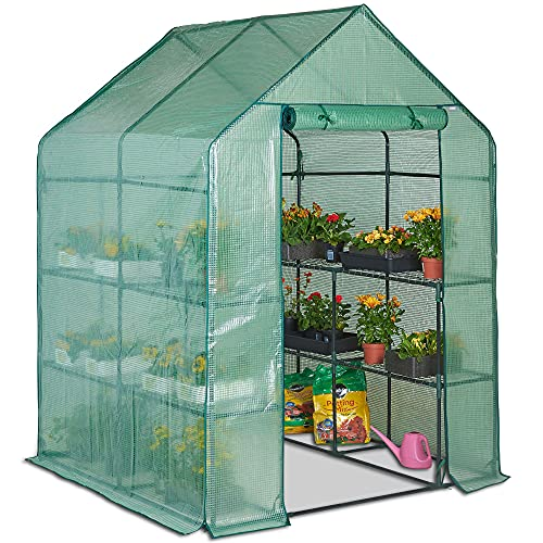 VonHaus Walk In Greenhouse – Green House with 8 Shelves and Weatherproof Re-enforced Plastic PVC Cover – Plant House/Grow House for Garden and Outdoor – Roll Up Zip Panel Door – Easy No Tool Assembly