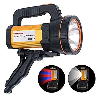 Super Bright CREE LED Large 4 Battery 10000mah Searchlight Handheld Spotlight Flashlight USB Rechargeable High Lumens Powered Spot Lights Hand Held Outdoor Flood Torch Camping Waterproof Boat