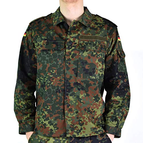 Original German Army Jacket Zipped Fleck-tarn Camouflage Tactical Combat BW Military Issue Field Shirt (XXL Long)