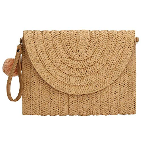 Straw Clutch,Straw Handbag Clutch for Women Summer Beach Straw Woven Envelope Purse Wallet (Dark khaki)