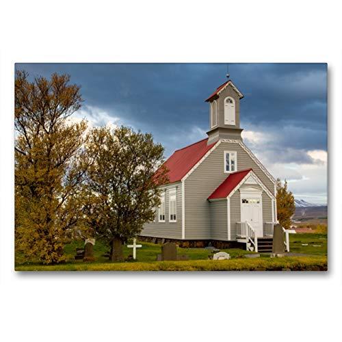 Premium Textil-Leinwand 90 x 60 cm Quer-Format Die alte Kirche von Reykholt | Wandbild, HD-Bild auf Keilrahmen, Fertigbild auf hochwertigem Vlies, Leinwanddruck von Ingrid Steiner