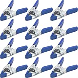 Lot of 12-6' inch Spring Clamp Large Super Heavy Duty Spring Metal Blue - 3 inch Jaw Opening
