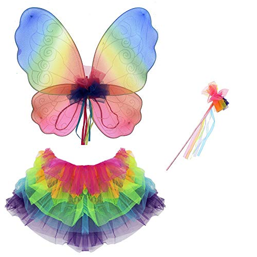 Girls Rainbow WIngs, Wand and Tutu Set for Fairy Fancy Dress