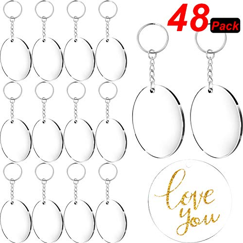 24 Pieces Acrylic Transparent Circle Discs and 24 Pieces Key Chains Clear Round Acrylic Keychain Blanks for DIY Projects and Crafts, 2 Inch