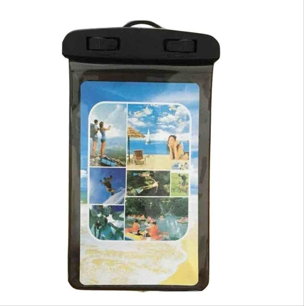 Mobile Phone Waterproof Touch Screen Sealed Bag Universal Transparent Mobile Phone Dry Bag Waterproof PVC Mobile Phone Bag Swimming Diving Water Sports Mobile Phone Bag 105x175mm Black