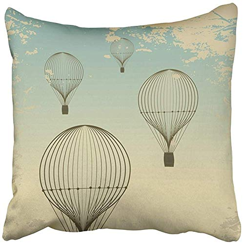 Throw Pillow Cover 18X18 Inch Polyester Journey Retro Hot Air Balloon Sky Old Vintage Travel Cloud Drawing Sketch Airship Antique Decorative Pillowcase Two Sides Square Print for Home Antique Hot Air Balloon