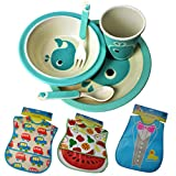Jungen oder Mädchen Geschenkset Kindergeschirrset aus Bambusfaser, Kids Dinner-set 5er Set Bamboo Fiber Eco-Friendly BPA Plastik Frei Motiv Fisch Geschirrset plus Lätzchen